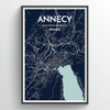 Annecy City Map Print street wall art