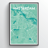 Amsterdam City Map Print street wall art