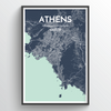 Athens City Map Print street wall art