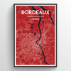 Bordeaux City Map Print street wall art