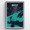 Brest City Map Print street wall art