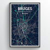 Bruges City Map Print street wall art