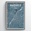 Brussels City Map Print street wall art