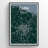 Caen City Map Print street wall art