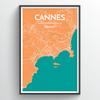 Cannes City Map Print street wall art