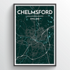 Chelmsford City Map Print street wall art
