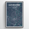 Coventry City Map Print street wall art