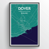 Dover City Map Print street wall art