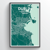 Dublin City Map Print street wall art