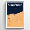 Dunkerque City Map Print street wall art
