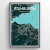 Edinburgh City Map Print street wall art