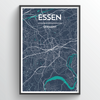 Essen City Map Print street wall art