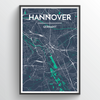 Hannover City Map Print street wall art