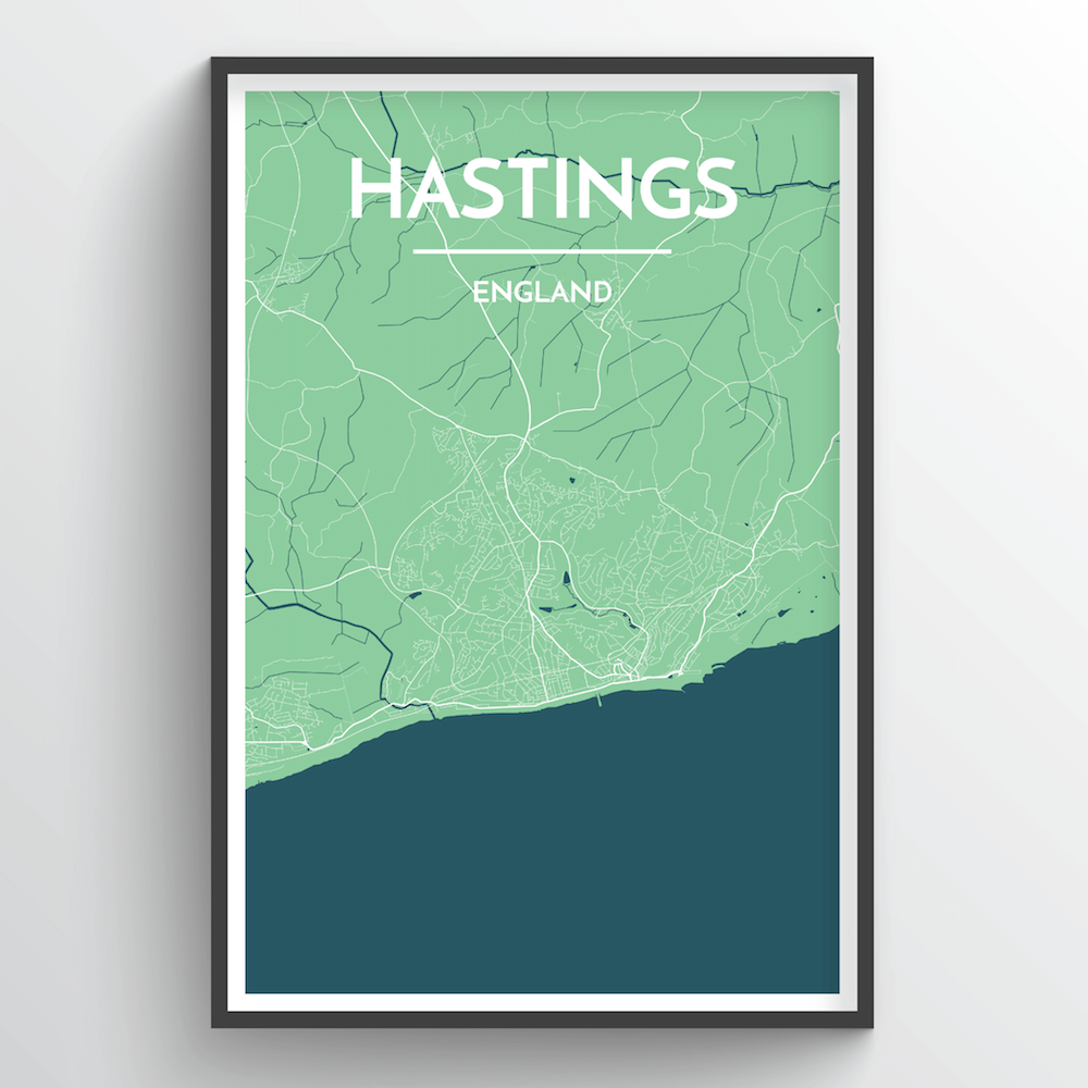 Hastings England Map Art Point Two Design