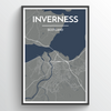 Inverness City Map Print street wall art