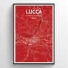 Lucca City Map Print street wall art