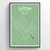 Luton City Map Print street wall art