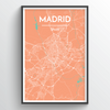 Madrid City Map Print street wall art