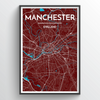Manchester City Map Print street wall art