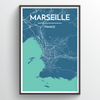 Marseille City Map Print street wall art