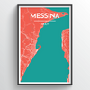 Messina City Map Print street wall art