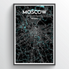 Moscow City Map Print street wall art