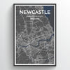Newcastle City Map Print street wall art