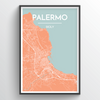 Palermo City Map Print street wall art