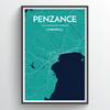 Penzance City Map Print street wall art