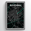Ravenna City Map Print street wall art