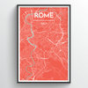Rome City Map Print street wall art