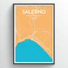 Salerno City Map Print street wall art