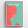 Syracuse City Map Print street wall art