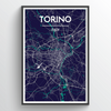 Torino City Map Print street wall art