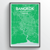 Bangkok City Map Print street wall art