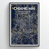 Chiang mai City Map Print street wall art