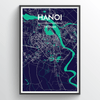 Hanoi City Map Print street wall art