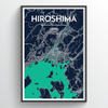 Hiroshima City Map Print street wall art