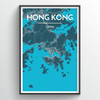 Hong Kong City Map Print street wall art