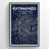 Kathmandu City Map Print street wall art