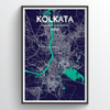 Kolkuta City Map Print street wall art