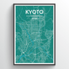 Kyoto City Map Print street wall art