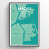 Macau City Map Print street wall art