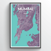Mumbai City Map Print street wall art