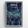 Seoul City Map Print street wall art