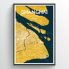 Shanghai City Map Print street wall art