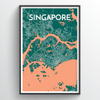 Singapore City Map Print street wall art