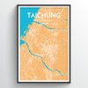 Taichung City Map Print street wall art