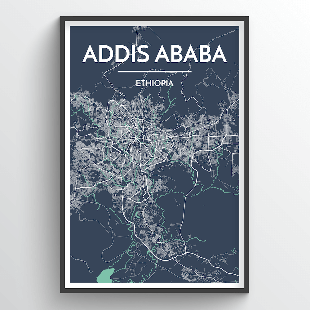 Addis Ababa, Ethiopia - Map Art - Point Two Design