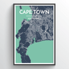 Cape Town City Map Print street wall art